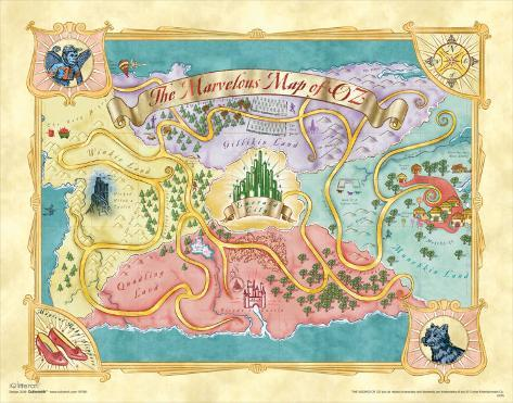 The Wizard of Oz: Glitter Map Reproduction d'art
