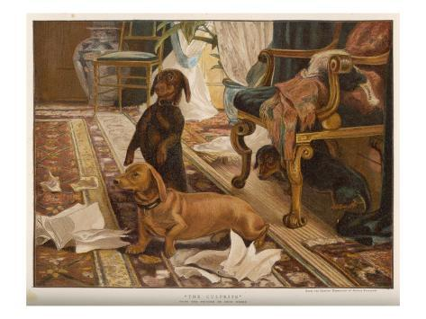 Three Dachshunds Have a Great Time with Master's Papers Reproduction procédé giclée