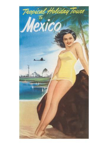 Travel Poster of Mexican Beach Reproduction d'art