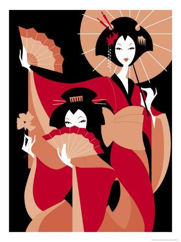 Two Japanese Geisha Reproduction d'art