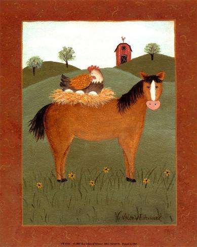 Horse with Hen Reproduction d'art