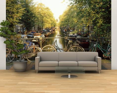 Velos sur un pont au dessus du canal, Amsterdam, Pays-Bas Poster géant XXL