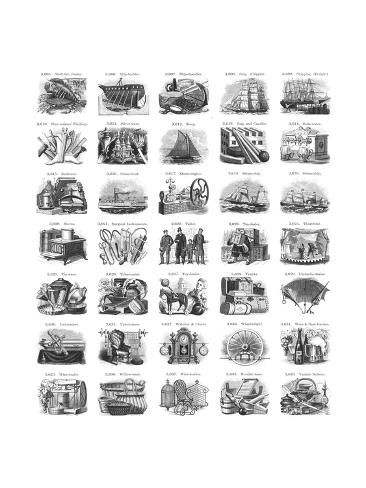 Vintage Illustrations of Everyday Tasks and Object Clusters Reproduction d'art