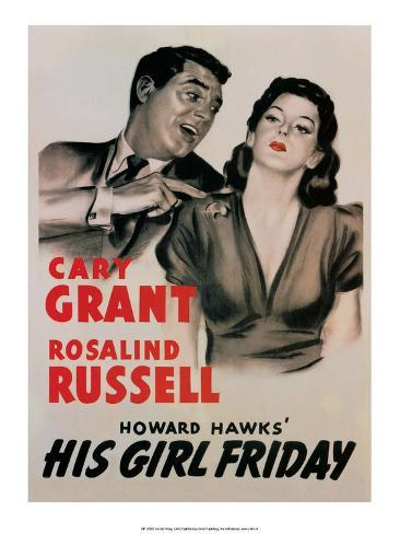 Vintage Movie Poster - Cary Grant in His Girl Friday Reproduction d'art