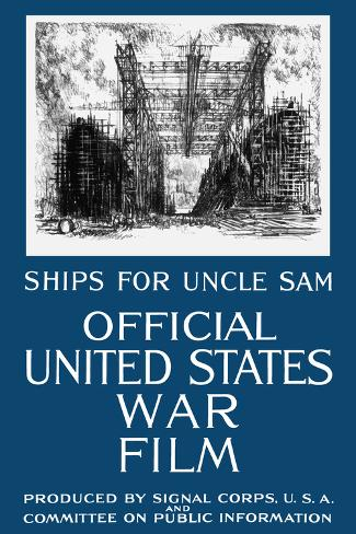 Vintage World War I Propaganda Poster Featuring a Navy Shipyard Reproduction d'art