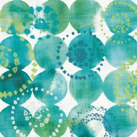 Raindots in Blue and Green Reproduction d'art