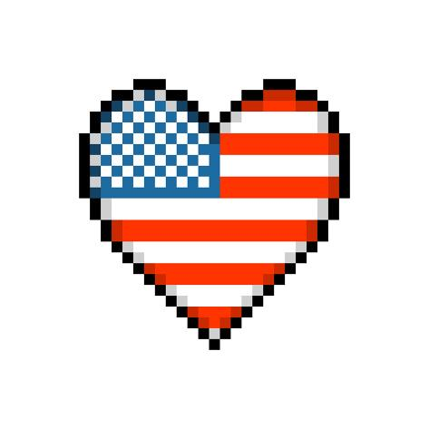 8 bit pixel american love heart art par wongstock sur. Black Bedroom Furniture Sets. Home Design Ideas