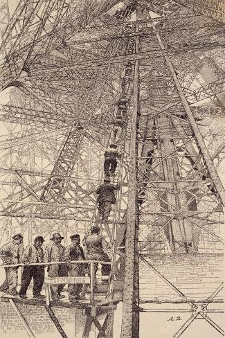 Workers Ascending Tower During Construction of Eiffel Tower for Paris World Fair, 1889, France Reproduction procédé giclée