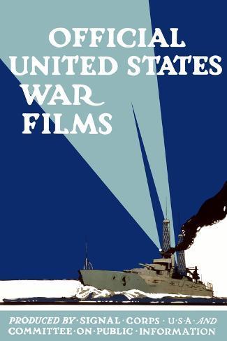 World War I Propaganda Poster of a Navy Ship Shining It'S Searchlights Reproduction d'art