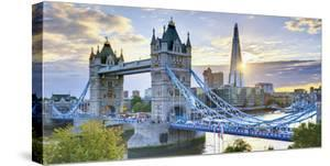 UK, England, London, River Thames, Tower Bridge and the Shard, by Architect Renzo Piano by Alan Copson