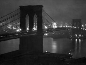 Brooklyn bridge paintings and prints at art glittering night view of the brooklyn bridge spanning the glassy waters of the east riverandreas feininger malvernweather Choice Image