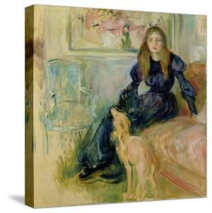 Julie Manet (1878-1966) and Her Greyhound Laerte, 1893 by Berthe Morisot