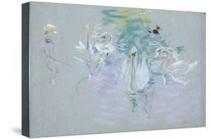 Swans, 1885 (Pastel on Paper) by Berthe Morisot