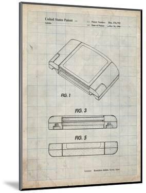 PP451-Antique Grid Parchment Nintendo 64 Game Cartridge Patent Poster by Cole Borders