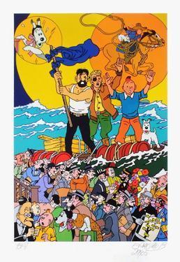 Three full moons for Tintin by Erró (Gudmundur Gudmundsson)