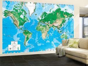 World maps posters and prints at for Dry erase world map wall mural