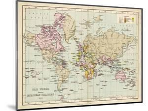 World Map Showing the European Colonies by F.s. Weller