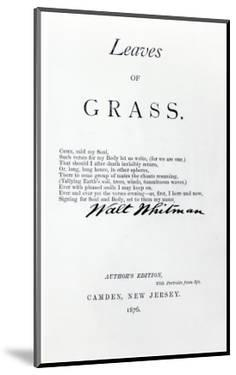 Frontispiece to 'Leaves of Grass' by Walt Whitman