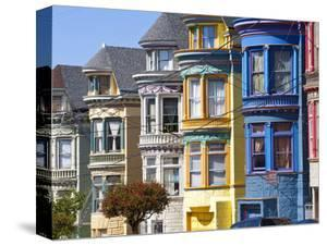 Colourfully Painted Victorian Houses in the Haight-Ashbury District of San Francisco, California, U by Gavin Hellier