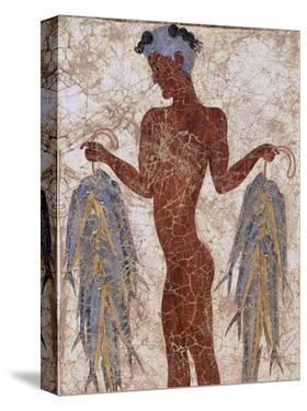 Fresco of a Fisherman from Akrotiri, Island of Santorini, Greece by Gavin Hellier