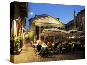 Restaurants Near the Ancient Pantheon in the Evening, Rome, Lazio, Italy by Gavin Hellier