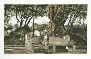 Man on Bench (Color) by Harry McCormick