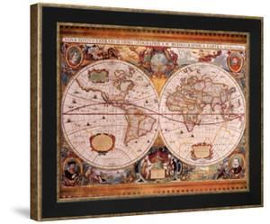 antique map geographica c1630henricus hondius - World Map Framed Art