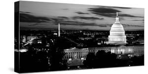 High Angle View of a City Lit Up at Dusk, Washington Dc, USA