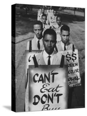 African Americans on Picket Line, Protesting Treatment at Lunch Counter by Howard Sochurek