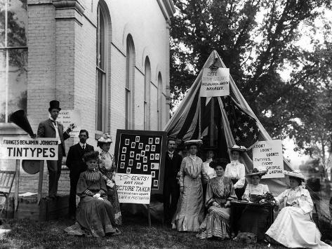 Poster: Frances Benjamin Johnston Selling Tintypes at a Virginia Count