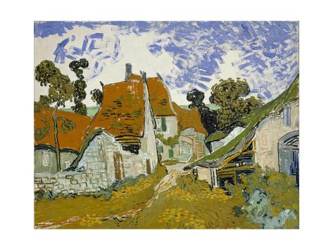 Giclee Painting: van Gogh's Street in Auvers-Sur-Oise, 24x18in.