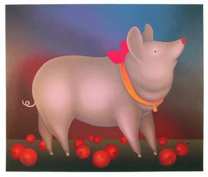 Pig with Bow by Igor Galanin