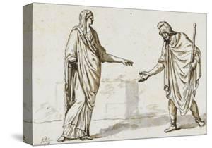Album : une femme faisant l'aumône à un homme ; deux femmes devisant ; une femme assise by Jacques-Louis David