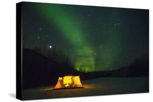 Two Campers Drinking a Bottle of Wine in a Tent under the Northern Lights by Jami Tarris