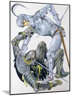 The Big Knight Is Slain by Sir Lancelot, an Illustration for 'Sir Lancelot of the Lake', by Roger… by Janet and Anne Johnstone