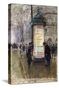 La Colonne Morris (angle de la rue Laffite et du boulevard des Italiens) by Jean Béraud