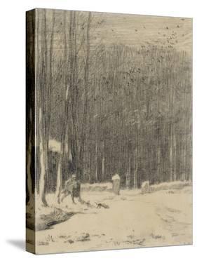 L'entr?de la for?de Barbizon; effet de neige by Jean-François Millet