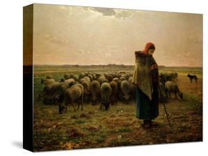 Shepherdess with Her Flock, 1863 by Jean-François Millet