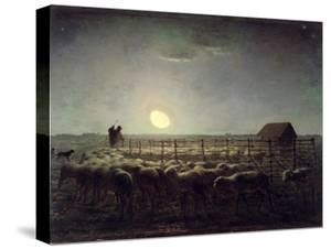 The Sheepfold, Moonlight, 1856-60 by Jean-François Millet