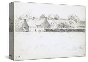 View of Farm Buildings across a Field, 1871 by Jean-François Millet