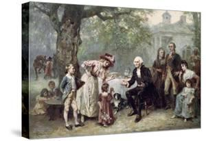 Washington and His Family by Jean Leon Gerome Ferris