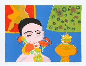 Woman with Flowers by John Grillo