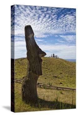 Moai Stone Statue Heads Remain, Rapa Nui Quarry, Base Of Rano Raraku Volcano. Easter Island, Chile by Karine Aigner