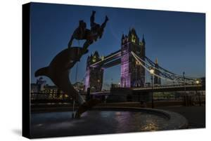 Tower Bridge Of London, Dusk, With David Wynne's 'Girl With A Dolphin' Statue, N Bank Of The Thames by Karine Aigner