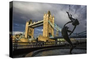 Tower Bridge Of London, With David Wynne's 'Girl With A Dolphin' Statue 1973 N Bank Of The Thames by Karine Aigner