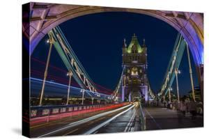 Tower Of London Bridge At Dusk With The Headlights Oncoming Cars by Karine Aigner