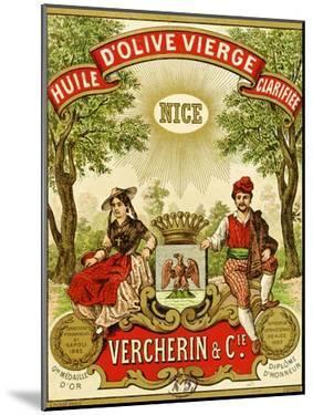 Label for Vercherin Extra Virgin Olive Oil, c.1885-90