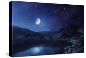 Lake and Mountains at Night Against Starry Sky, Pirin National Park, Bulgaria