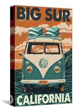 Big Sur, California - VW Van Blockprint by Lantern Press