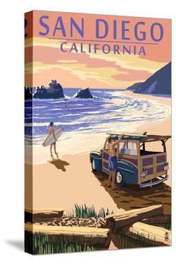 San Diego, California - Woody on Beach by Lantern Press